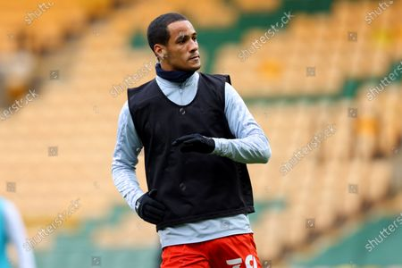 Thomas Ince of Luton Town during the warm up; Carrow Road, Norwich, Norfolk, England, English Football League Championship Football, Norwich versus Luton Town.