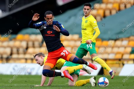 Oliver Skipp of Norwich City fouls Thomas Ince of Luton Town; Carrow Road, Norwich, Norfolk, England, English Football League Championship Football, Norwich versus Luton Town.