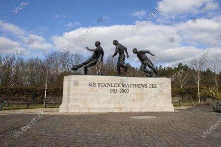The Sir Stanley Matthews statue at the Bet365 Stadium; Bet365 Stadium, Stoke, Staffordshire, England; English Football League Championship Football, Stoke City versus Wycombe Wanderers.