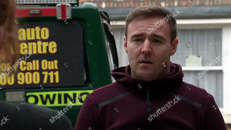 Coronation Street - Ep 10279 Monday 22nd March 2021 - 1st Ep As Tyrone Dobbs, as played by Alan Halsall, heads back to the garage, Abi and Chesney hide whilst Fiz Stape takes a deep breath and excitedly reveals she's booked them a Greek wedding. Tyrone's stunned.