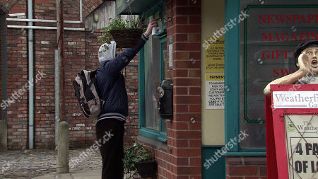 Stock Picture of Coronation Street - Ep 10280 Monday 22nd March 2021 - 2nd Ep Brian Packham's, as played by Peter Gunn, incensed to find the word 'troll' sprayed outside the Kabin. Cathy Matthews steels herself and explains how in a moment of madness, she posted some cruel words about Steve's fundraising which she deeply regrets.