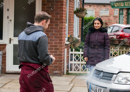 Coronation Street - Ep 10275 Wednesday 17th March 2021 - 1st Ep Alina Pop, as played by Ruxandra Porojnicu, drives an old banger onto the street. Tyrone Dobbs, as played by Alan Halsall, offers to take a look at it for her but when Alina reveals she knows her way around a car's engine because her grandfather taught her, he's more smitten than ever.