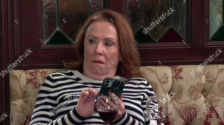 Coronation Street - Ep 10277 Friday 19th March 2021 - 1st Ep Angered by Tracy's comments, Cathy Mattews, as played by Melanie Hill, posts her own views online about Steve and Tracy's fundraising efforts.
