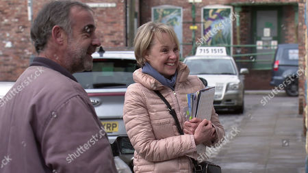 Coronation Street - Ep 10273 Monday 15th March 2021 - 1st Ep Sally Metcalfe, as played by Sally Dynevor, insists on helping Abi Franklyn plan her wedding and appoints herself Maid of Honour. Also pictured - Kevin Webster, as played by Michael Le Vell.