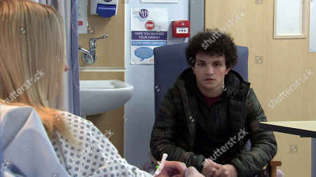 Coronation Street - Ep 10273 Monday 15th March 2021 - 1st Ep Simon Barlow, as played by Alex Bain, visits Kelly Neelan, as played by Millie Gibson, in hospital, feeling awful he says if she wants to report him to the police, he'll take what's coming to him