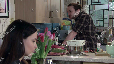 Coronation Street - Ep 10277 Friday 19th March 2021 - 1st Ep Alina Pop, as played by Ruxandra Porojnicu, reluctantly agrees to lunch, where she steals herself and admits to Seb Franklyn, as played by Harry Visinoni, that she's in love with someone else. Seb's crushed.