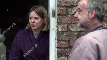 Coronation Street - Ep 10273 Monday 15th March 2021 - 1st Ep Sally Metcalfe, as played by Sally Dynevor, insists on helping Abi Franklyn, as played by Sally Carman, plan her wedding and appoints herself Maid of Honour.