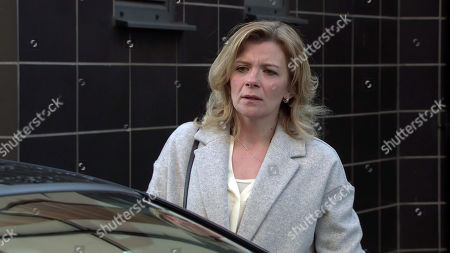 Coronation Street - Ep 10273 Monday 15th March 2021 - 1st Ep Leanne Tilsley, as played by Jane Danson, masks her panic. Approaching Harvey's car with trepidation she hands him the £1k, telling him she's Simon's Mum and that's all he's getting. Harvey makes it clear he wants the rest or he'll put them in hospital.