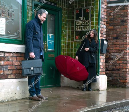 Stock Image of Coronation Street - Ep 10268 Monday 8th March 2021 - 2nd Ep Lucas, as played by Glen Wallace, convinces Carla Connor, as played by Alison King, to take some time for herself and they head into town.