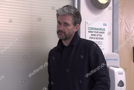Stock Photo of Coronation Street - Ep 10269 Wednesday 10th March 2021 - 1st Ep Carla doesn't believe a word. Lucas, as played by Glen Wallace, arrives asking after Peter but Carla Connor's stunned when he suddenly asks her to return to Devon with him. Carla can't believe his timing but when Steve McDonald urges her to jump at the offer as Peter's an incurable drunk, will Carla be swayed?