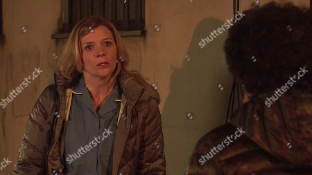 Coronation Street - Ep 10284 Friday 26th March 2021 - 2nd Ep As Leanne Tilsley, as played by Jane Danson, waits nervously for the drug dealer, Simon Barlow, as played by Alex Bain, appears. Promising she'll explain later, Leanne implores him to go home.