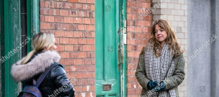 Coronation Street - Ep 10283 Friday 26th March 2021 - 1st Ep Kelly Neelan, as played by Millie Gibson, marches up to Toyah Battersby, as played by Georgia Taylor, and before Imran Habeeb can stop her, introduces herself and explains how she'd like them to foster her. Toyah admires her forthright approach.
