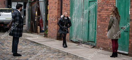 Coronation Street - Ep 10283 Friday 26th March 2021 - 1st Ep Kelly Neelan, as played by Millie Gibson, marches up to Toyah Battersby, as played by Georgia Taylor, and before Imran Habeeb, as played by Charlie de Melo, can stop her, introduces herself and explains how she'd like them to foster her. Toyah admires her forthright approach.