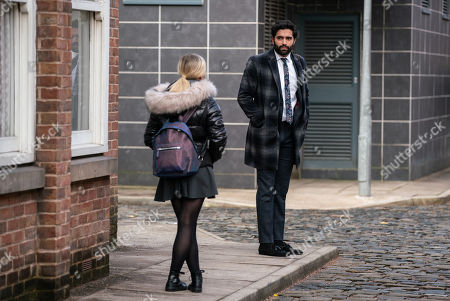 Coronation Street - Ep 10283 Friday 26th March 2021 - 1st Ep Kelly Neelan marches up to Toyah Battersby, as played by Georgia Taylor, and before Imran Habeeb, as played by Charlie de Melo, can stop her, introduces herself and explains how she'd like them to foster her. Toyah admires her forthright approach.