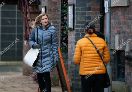 Coronation Street - Ep 10281 Wednesday 24th March 2021 - 1st Ep Having made the drop, Leanne Tilsley, as played by Jane Danson, heads home in her nurse's uniform. However when a woman approaches and asks her to help a man who's collapsed at the tram station, Leanne's horrified.