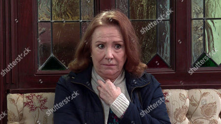 Coronation Street - Ep 10281 Wednesday 24th March 2021 - 1st Ep Jenny Connor tells Brian Packham he's barred for making nasty comments online about Steve, Cathy Matthew's, as played by Melanie Hill, mortified.