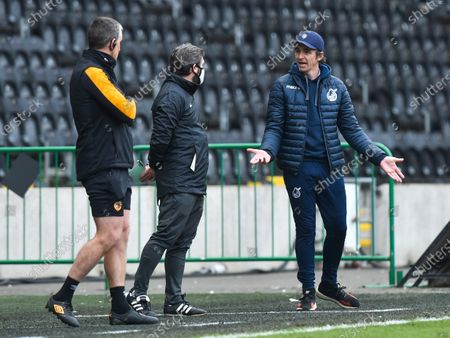 Manager Joey Barton of Bristol Rovers argues with Fourth Official Richard Wigglesworth