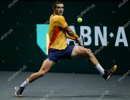 Croatia's Borna Coric plays a shot against Japan's Kei Nishikori in their quarterfinal men's singles match of the ABN AMRO world tennis tournament at Ahoy Arena in Rotterdam, Netherlands