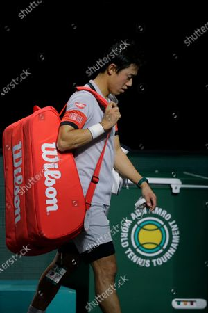 Japan's Kei Nishikori leaves the arena after losing his quarterfinal men's singles match of the ABN AMRO world tennis tournament against Croatia's Borna Coric in two sets, 6-7, 6-7, at Ahoy Arena in Rotterdam, Netherlands
