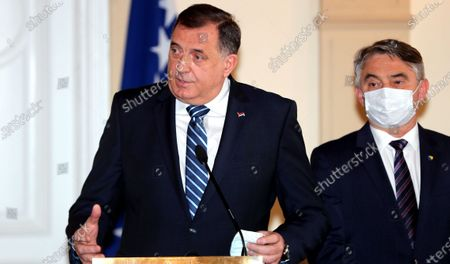Moilorad Dodik, Chairman of Bosnian Presidency (L), and Zeljko Komsic (R), member of Bosnian Presicency, attend a press conference after a meeting with Slovenian President Borut Pahor (not pictured) in Sarajevo, Bosnia and Herzegovina, 05 March 2021. Borut Pahor arrived for a working visit to Bosnia and Herzegovina.