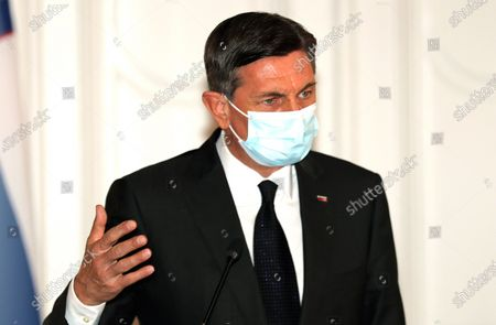 Slovenian President Borut Pahor speaks during a press conference after a meeting with members of Bosnian Presidency in Sarajevo, Bosnia and Herzegovina, 05 March 2021. Borut Pahor arrived for a working visit to Bosnia and Herzegovina.