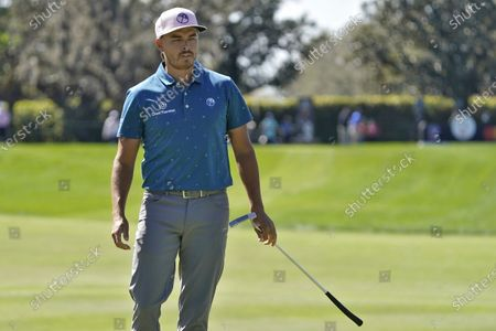 Rickie Fowler reacts to a missed putt on the second hole during the second round of the Arnold Palmer Invitational golf tournament, in Orlando, Fla