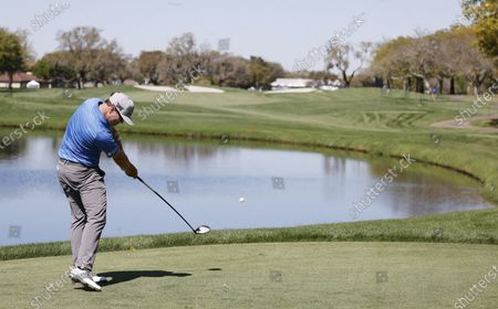 Zach Johnson of the US hits his tee shot on the twelfth hole during the second round of the Arnold Palmer Invitational presented by Mastercard golf tournament at the Bay Hill Club & Lodge in Orlando, Florida, USA, 05 March 2021.
