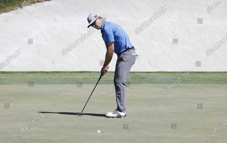 Zach Johnson of the US putts on the eighteenth hole during the second round of the Arnold Palmer Invitational presented by Mastercard golf tournament at the Bay Hill Club & Lodge in Orlando, Florida, USA, 05 March 2021.