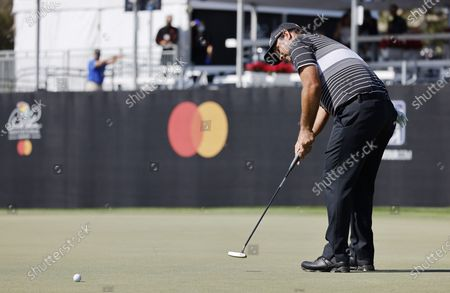 Stock Picture of Patrick Reed of the US putts on the seventeenth hole during the second round of the Arnold Palmer Invitational presented by Mastercard golf tournament at the Bay Hill Club & Lodge in Orlando, Florida, USA, 05 March 2021.