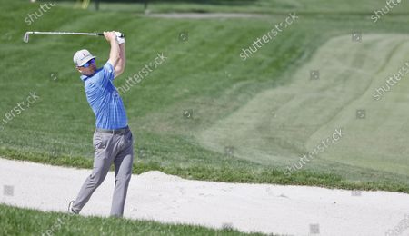 Zach Johnson of the US hits out of a bunker on the eleventh hole during the second round of the Arnold Palmer Invitational presented by Mastercard golf tournament at the Bay Hill Club & Lodge in Orlando, Florida, USA, 05 March 2021.