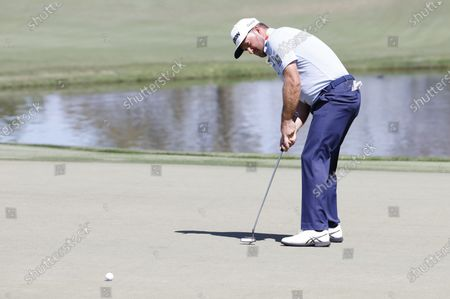 Graeme McDowell of Northern Ireland putts on the eighth hole during the second round of the Arnold Palmer Invitational presented by Mastercard golf tournament at the Bay Hill Club & Lodge in Orlando, Florida, USA, 05 March 2021.