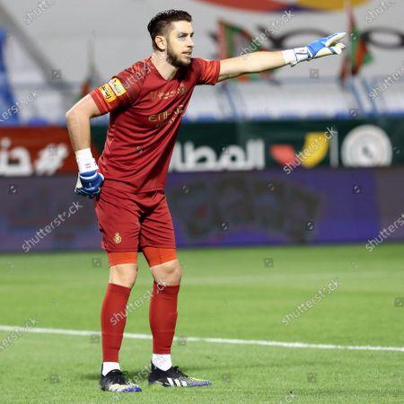 Al-Nassr's goalkeeper Brad Jones gestures during the Saudi Professional League soccer match between Al-Ettifaq and Al-Nassr at Prince Mohammed Bin Fahd Stadium, in Dammam, Saudi Arabia, 05 March 2021.