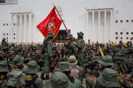 The Venezuelan Military members participate in an event in tribute to former Venezuelan president Hugo Chavez, in Caracas, Venezuela, 05 March 2021. Venezuela deployed more than 545,000 soldiers and weapons from all components of its Armed Forces (FANB) on 05 March, in tribute to the late president Hugo Chavez (1999-2013), in commemoration of the eighth anniversary of his death.