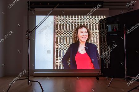 Exclusive - Marvelous and the Black Hole's Rhea Perlman poses from a remote location for a portrait in a virtual studio in Shutterstock's headquarters in NYC's Empire State Building.