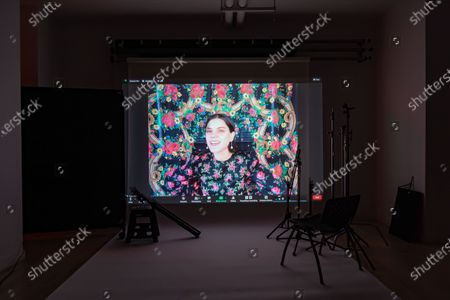 Exclusive - Mayday's Soko poses from a remote location for a portrait in a virtual studio in Shutterstock's headquarters in NYC's Empire State Building.