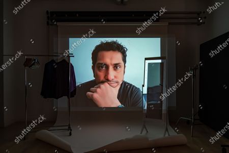 Stock Photo of Exclusive - Son of Monarchs's Tenoch Huerta Mejia poses from a remote location for a portrait in a virtual studio in Shutterstock's headquarters in NYC's Empire State Building.