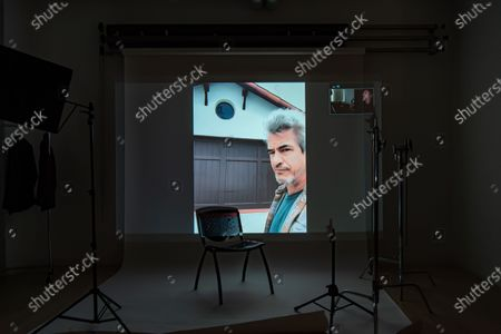 Exclusive - The Blazing World's Dermot Mulroney poses from a remote location for a portrait in a virtual studio in Shutterstock's headquarters in NYC's Empire State Building.