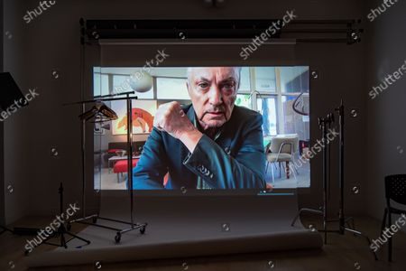 Exclusive - The Blazing World's Udo Kier poses from a remote location for a portrait in a virtual studio in Shutterstock's headquarters in NYC's Empire State Building.