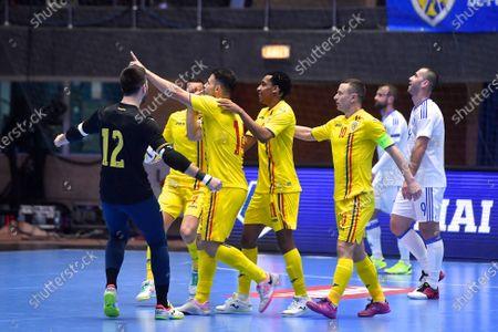 Paulo Ferreira of Romania scores and celebrates the European Futsal Championship 2022 qualification match between Romania - Bosnia and Herzegovina, on March 4, 2021 in Bucharest, Romania.