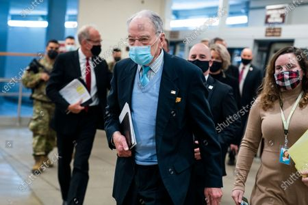 Republican Senator from Iowa Chuck Grassley walks to the Senate chamber as the Senate begins a so-called 'vote-a-rama' on more than 40 amendments to President Biden's Covid relief package in the US Capitol in Washington, DC, USA, 05 March 2021. Once the Senate finishes with their marathon reconciliation process, they can vote on final package.