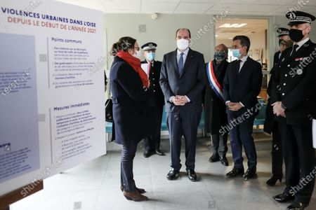 Stock Photo of The Prime Minister, Jean Castex and the Minister of the Interior, Gerald Darmanin accompanied by Olivier Dassault, member of the Oise meet the internal security forces