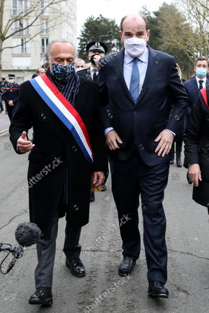 The Prime Minister, Jean Castex accompanied by Olivier Dassault, member of the Oise meet the internal security forces of the Oise department who ensure daily security, fight against urban violence as well as drug trafficking in the neighborhood Argentina de Beauvais, France, March 5, 2021.