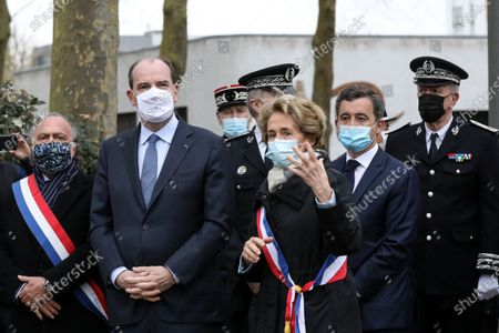 The Prime Minister, Jean Castex and the Minister of the Interior, Gerald Darmanin accompanied by Olivier Dassault, Member of the Oise and Caroline Cayeux, Mayor of Beauvais meet the internal security forces of the Oise department who ensure the security of the daily, you fight against urban violence as well as drug trafficking in the Argentine district of Beauvais, France, March 5, 2021.