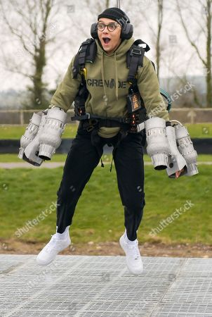 Member of dance troupe Diversity, Perri Kiely testing out the Gravity jet suit at Goodwood Aerodrome.