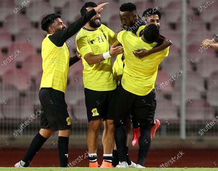 Al-Ittihad's player Fahad Al Muwallad (2-R) celebrates with teammates after scoring a goal during the Saudi Professional League soccer match between Al-Ittihad and Al-Wehda at King Abdulaziz Stadium, in Mecca, Saudi Arabia, 05 March 2021.