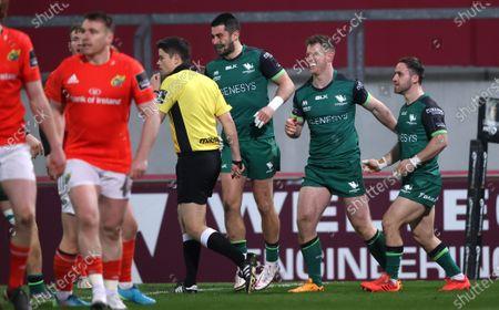 Munster vs Connacht. Connacht's Tiernan O'Halloran and Caolin Blade celebrate with try score Matt Healy