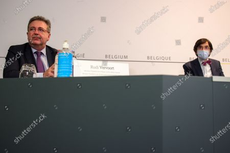 Brussels region Minister-President Rudi Vervoort and Walloon Minister President Elio Di Rupo pictured during a press conference after a meeting of the consultative committee with ministers of the Federal government, the regional governments and the community governments, in Brussels, Friday 05 March 2021. This meeting with the different governments is called when matters involving multiple levels are discussed. Last week, they decied to wait one more week for new measures as the numbers of Covid-19 infections and hospitalisations were rising.