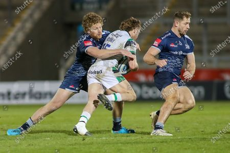 Robert Du Preez of Sale tackles Tom Penny of Newcastle  during the Gallagher Premiership Rugby match between Sale Sharks and Newcastle Falcons at the AJ Bell Stadium, Eccles