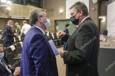 Stock Picture of Belgian Flemish Region Minister-President Jan Jambon, right, speaks with Wallonia-Brussels Federation Minister-President, Pierre-Yves Jeholet during a media conference after a meeting of the consultative committee to discuss recent coronavirus, COVID-19 measures in Brussels