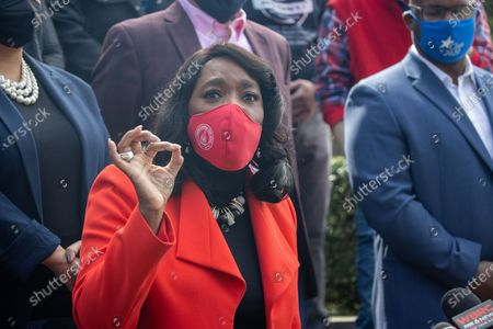 Stock Picture of Congresswoman Terri Sewell (D-AL) speaks at a press conference in Birmingham, Alabama at a RWDSU office after a congressional delegation met with workers and organizers involved with unionization efforts at the Amazon BHM1 facility.